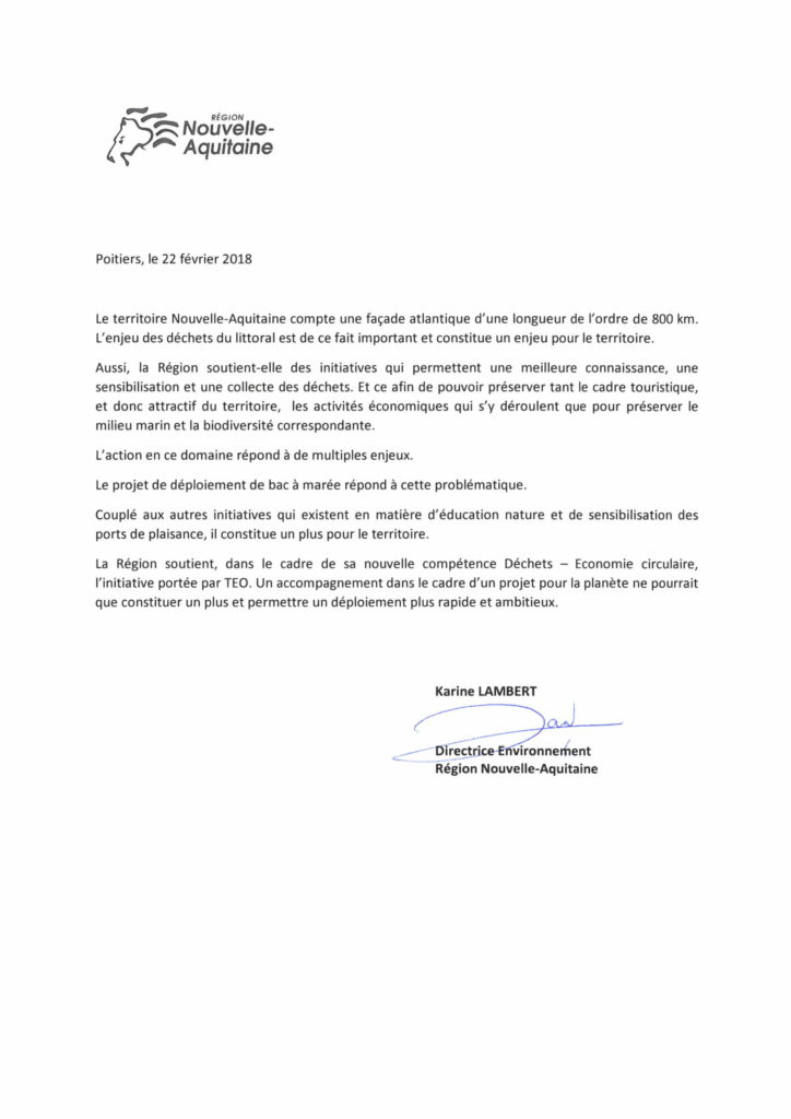 La région Nouvelle Aquitaine soutien les bacs à marée